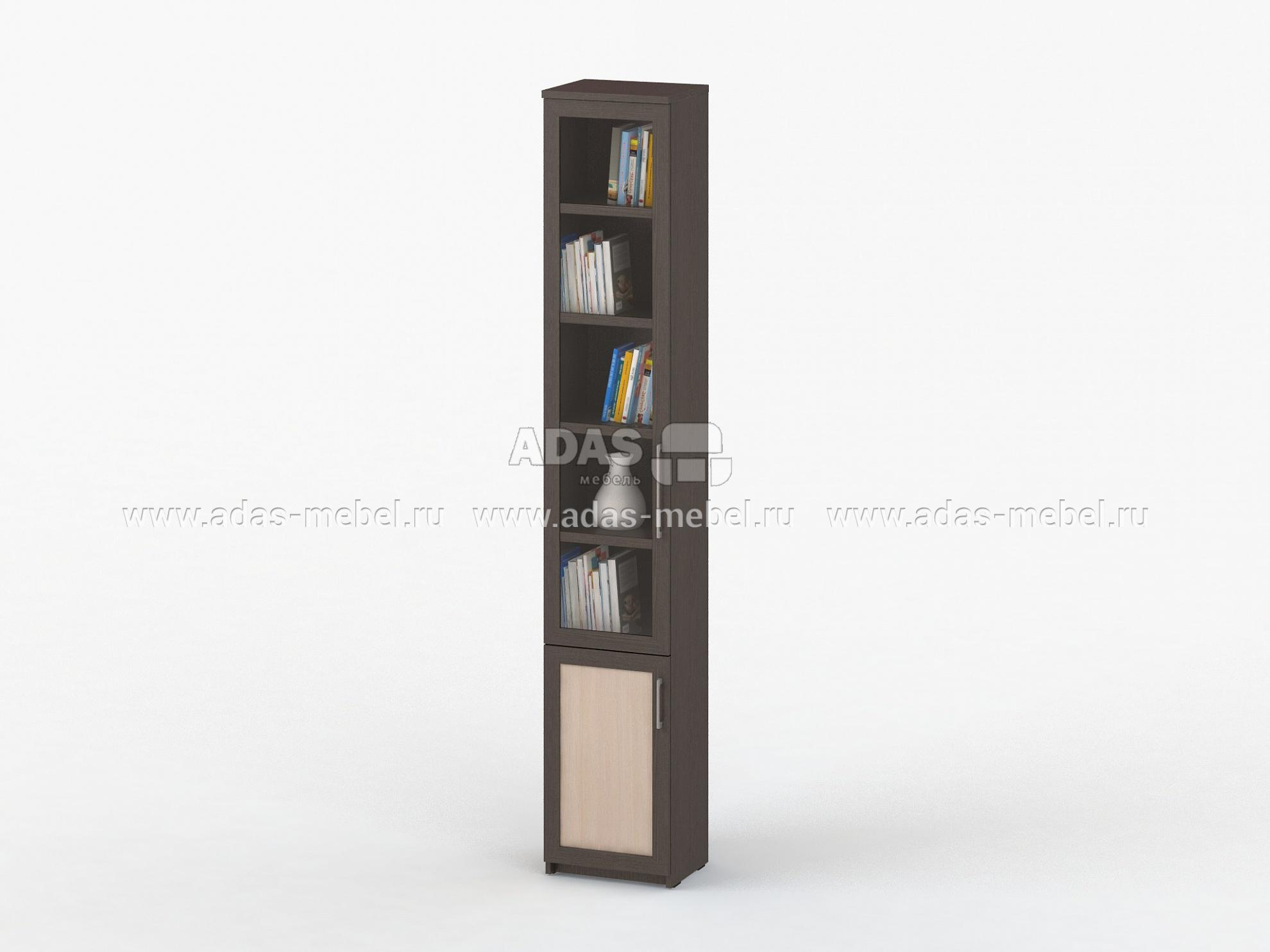 Шкаф-пенал книжный соло 038 со стеклом - купить в москве.
