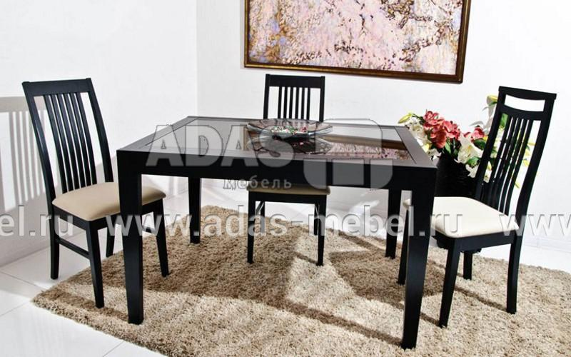 Кухонные деревянные столы со стеклянной столешницей